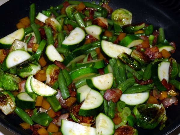 Add green beans and cook several more minutes