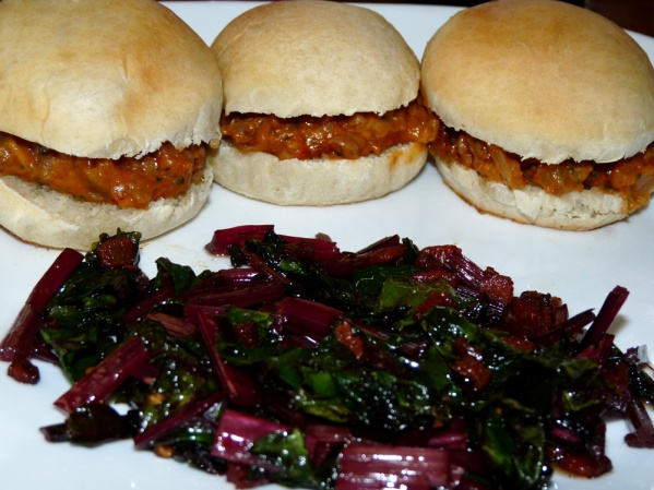Lasagna Slicers with Zucchini served with a side of beet greens and bacon