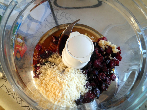 Place beets and rest of sauce ingredients in food processor and puree
