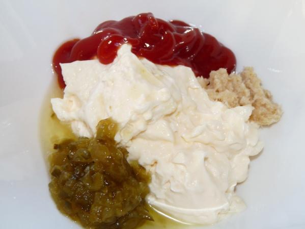 Mix mayo, ketchup, dill pickle relish and horseradish until smooth
