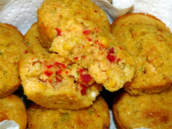 Jalapeno Roasted Red Pepper Cornbread Muffins