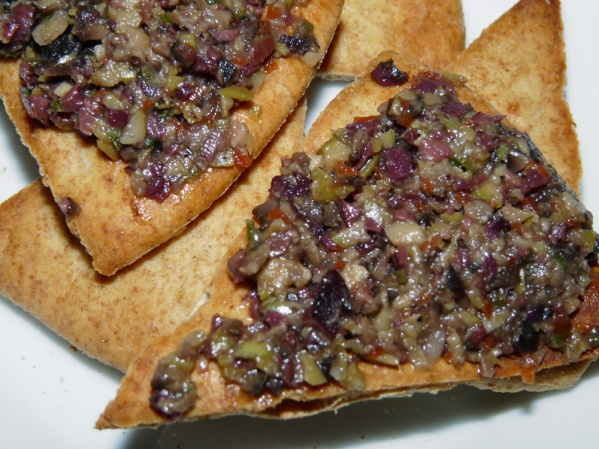 Olive Relish with Pita Triangles