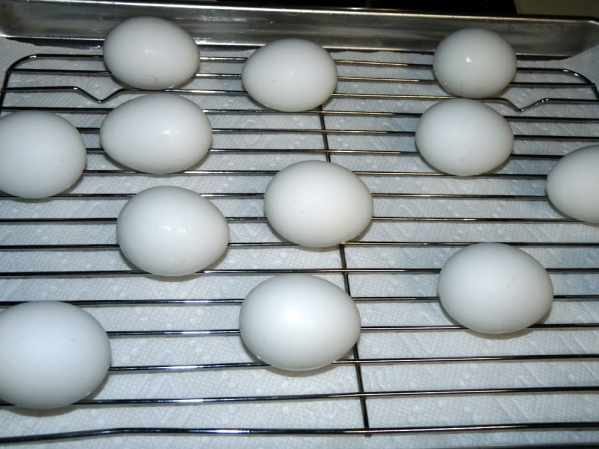 Let eggs dry on a rack