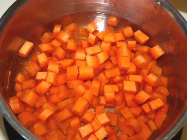 Cook carrots until fork tender