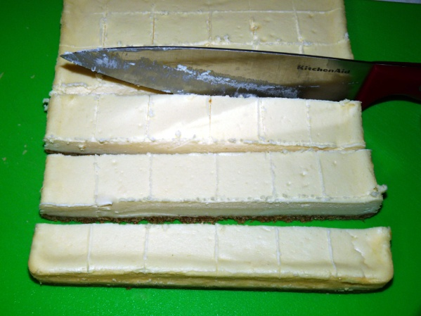 Turn cheesecake right side up and using a large knife, cut into 36 pieces