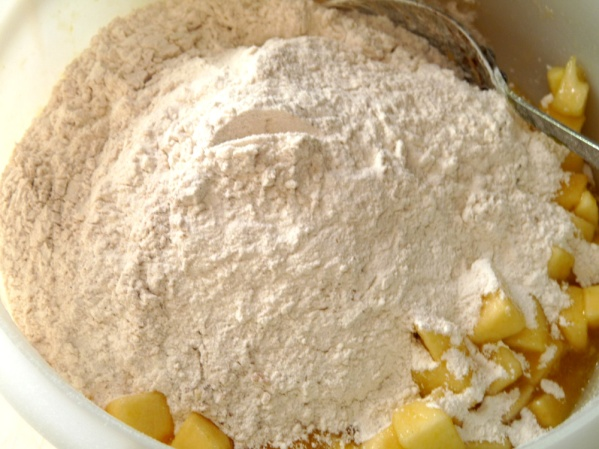 Whisk together flour, baking soda, cinnamon and salt then add to apples. Stir well