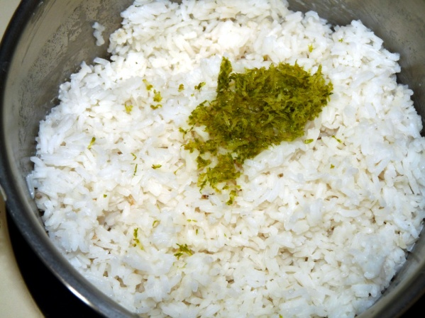 Add lime zest to rice and stir well