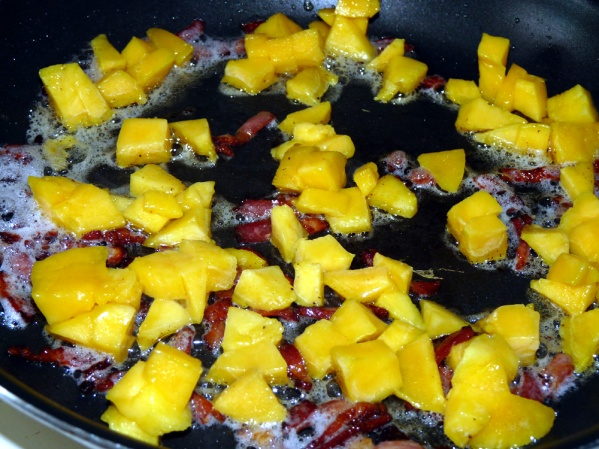 Add diced mango