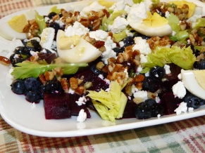 Roasted Beet, Blueberry, Egg and Goat Cheese Salad