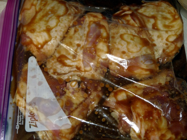 Zip bag and refrigerate for at least 2 hours. Turn occasionally to redistribute marinade