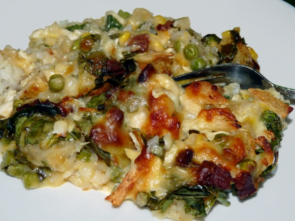 Chicken Tater Tot Casserole with Bacon and Spinach