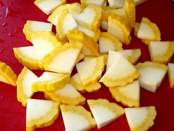 Cut squash slices into quarters