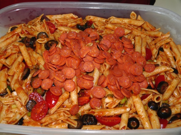 Add pepperoni and stir well