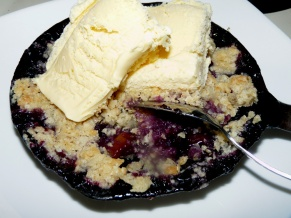Skillet Bourbon Blueberry Peach Crumble