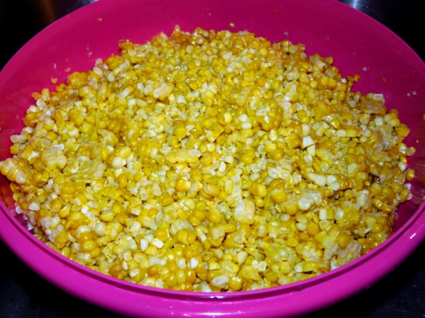 Freeze corn in containers or plastic zippered bags. I used bags and put 4 cups in each bag. Freeze flat on a sheet pan.