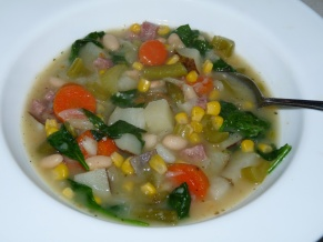 Loaded Vegetable Soup with Ham and White Beans