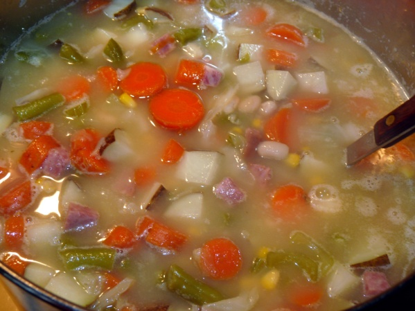 Bring to a boil then reduce heat to medium and cook for 20-30 minutes or until potatoes and carrots are fork tender