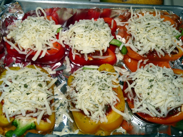 Place peppers in foil lined baking pan and sprinkle with parsley flakes. Bake 30 minutes at 400°F. Check for doneness and bake for 10-15 minutes more if desired