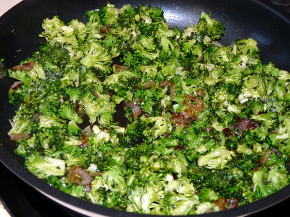 Add broccoli and sauté for several more minutes, until heated through