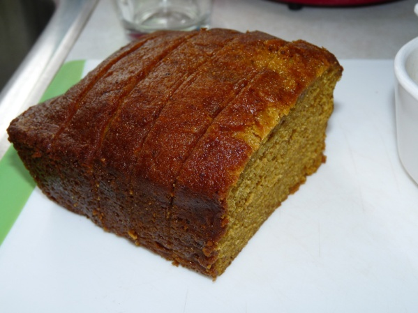 Cut several slices of pumpkin bread. The batter will cover 8-10 pieces
