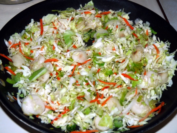 Add cole slaw mix and sauté for 3-4 minutes