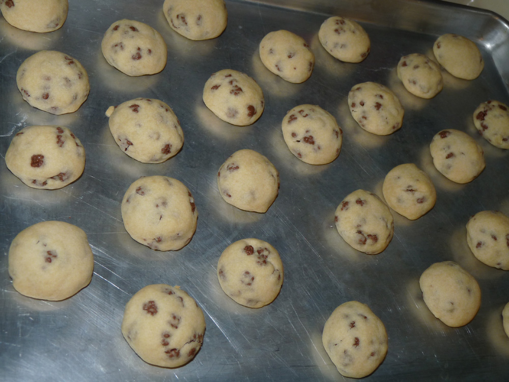 Mix dough; roll into balls and place on baking sheet. Press slightly to set so they don't roll around