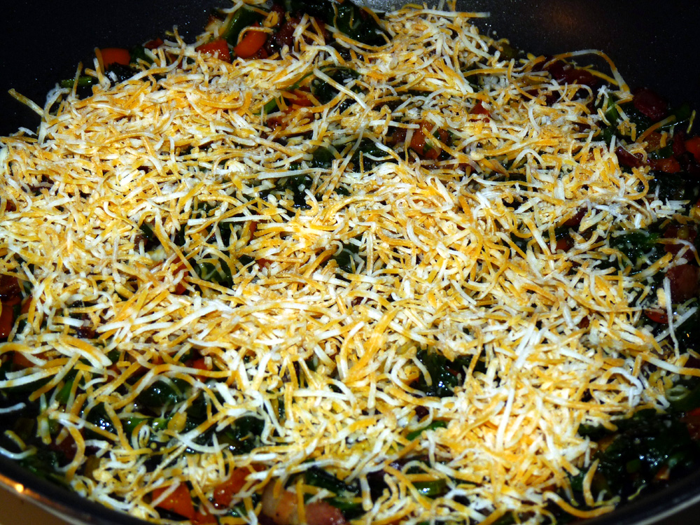 Add 3/4 cup shredded cheese