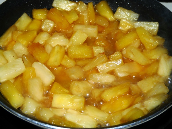 Stir in caramelized pineapple