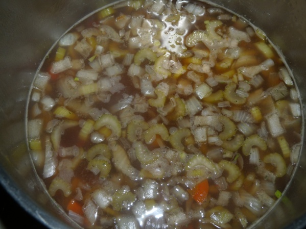 Bring soup to a bubbling boil then reduce to medium low and cook for 60 minutes