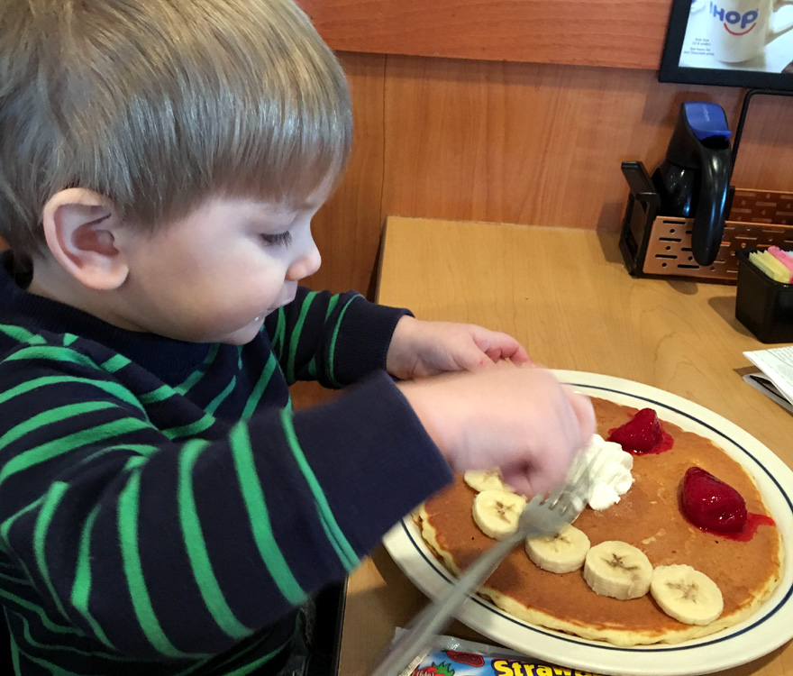 We visited iHOP with Grandpa for pancakes