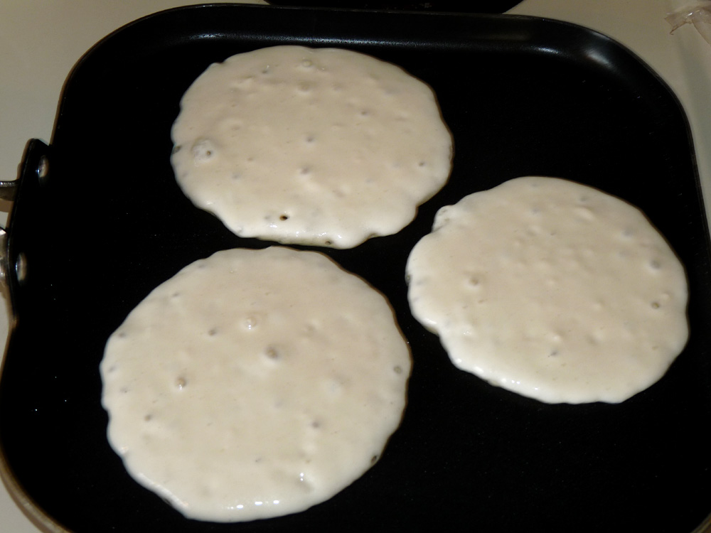 Pour onto heated griddle in preferred sizes