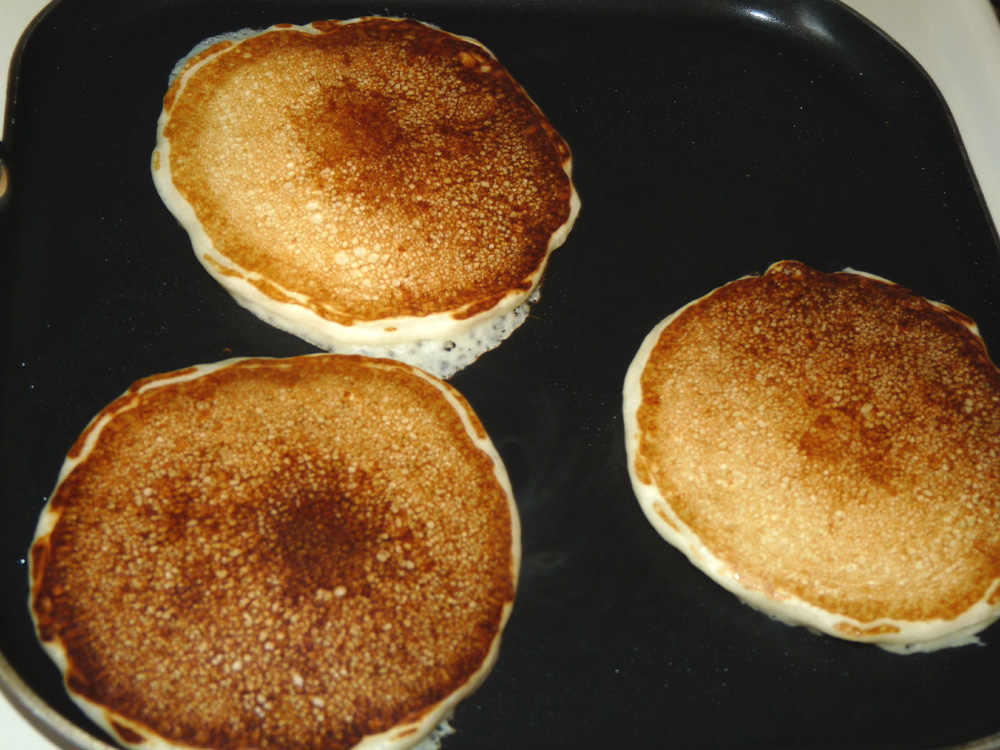 When golden brown on first side, flip and fry until second side is golden brown