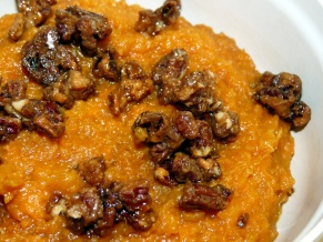 Bourbon Sweet Potatoes with Bourbon Candied Pecans