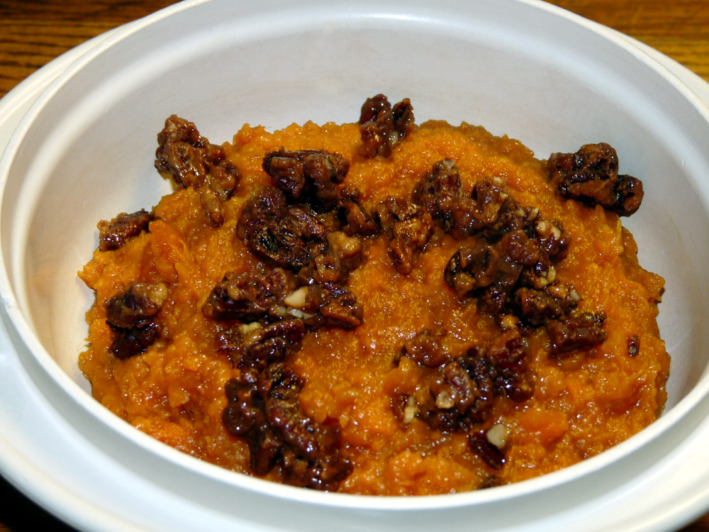 Bourbon Candied Pecans with Mashed Sweet Potatoes