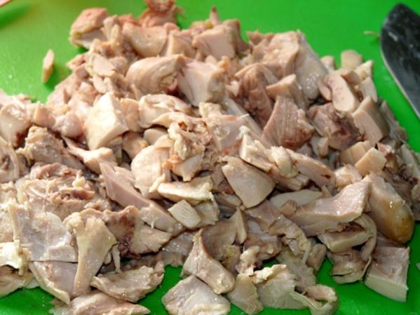 Add diced chicken