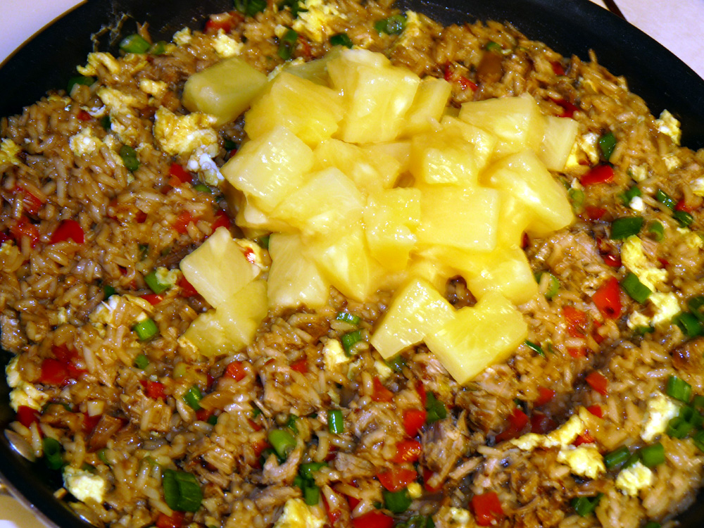 Stir in pineapple and heat through