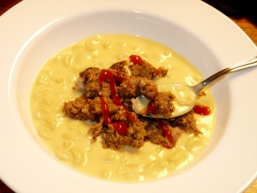 Macaroni and Cheese Soup with Meatloaf Croutons