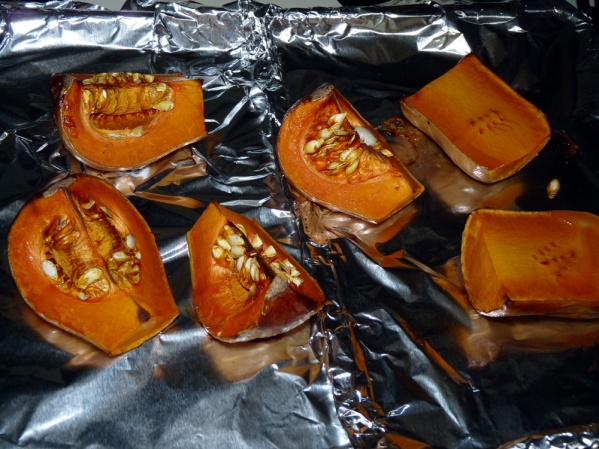 Cut squash into pieces and roast at 425°F until fork tender