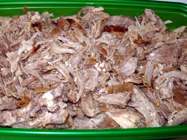 """Chop leftover pork into 1"""" pieces"""