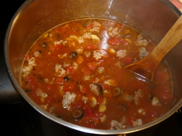 Drain meat and add to soup pot. Bring pot back to a boil over medium high heat
