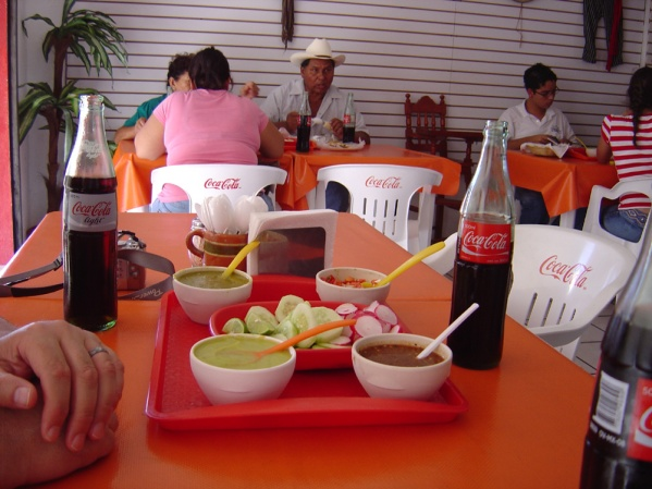 Mazatlan, condiments for tongue tacos at a local eatery