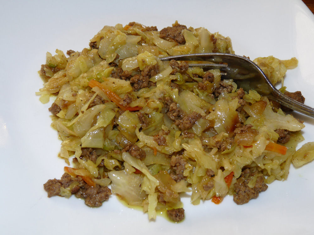Curried Coleslaw and Ground Beef Stir-fry