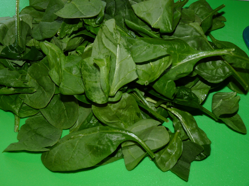 Roughly chop spinach