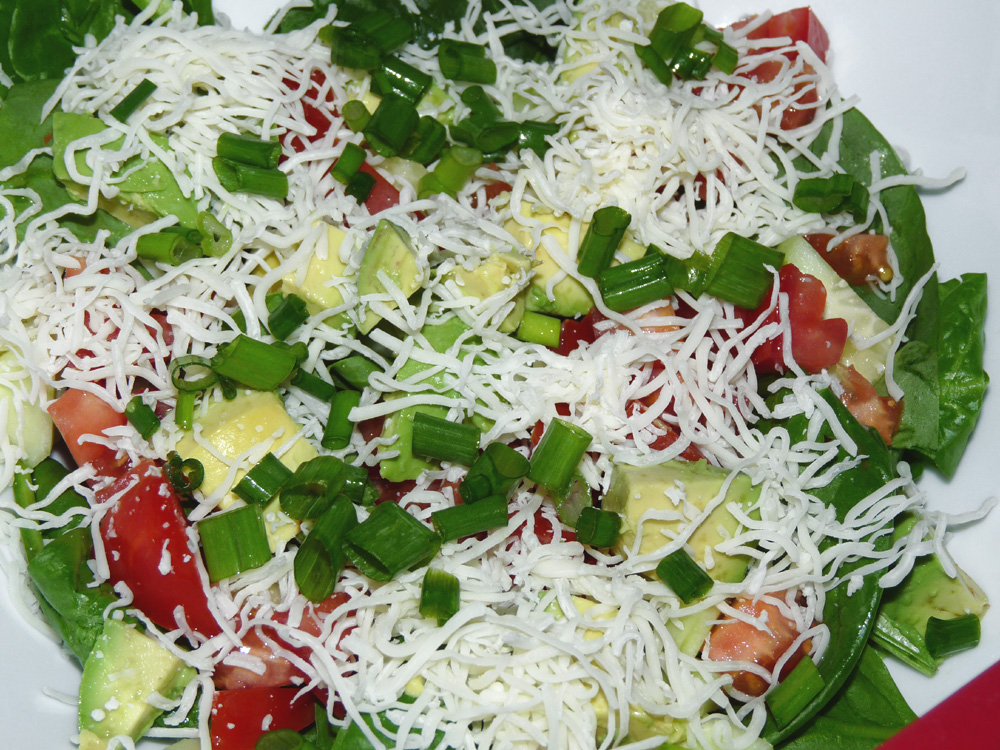 I garnished the salads with shredded Monterey Jack and chopped green onions