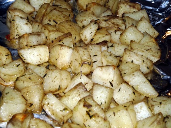 Roast potatoes in ove for 30 minutes
