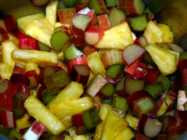 Add pineapple, rhubarb and 1/2 cup water to a large saucepan. Bring to a boil and simmer for 10 minutes, until tender.