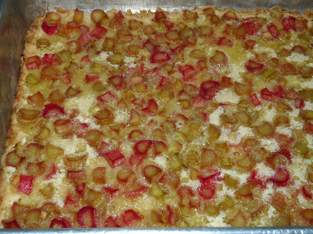 Rhubarb bars are done when beginning to brown around the edges.