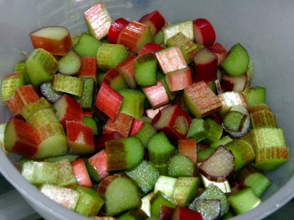 Chop 2 1/2 cups rhubarb