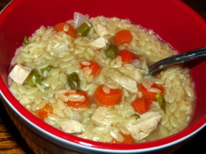 Veggie Tray Chicken Orzo Soup