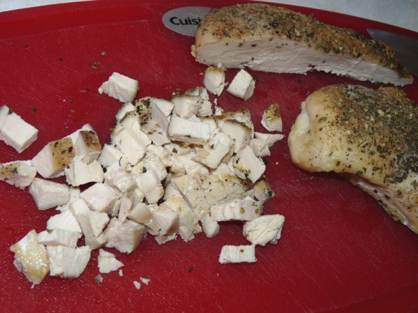 Roast chicken with seasonings, cool and dice.